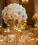 wedding at the gold coast room at the drake hotel, gold chiavari chairs, large tall centerpieces