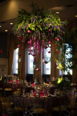 cascading flowers, floral chandelier, purple and red flowers, garden theme, whimsical reception