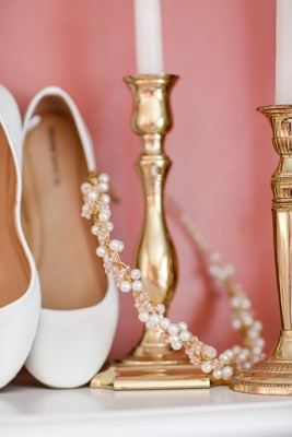 Pink crystal and pearl gold headband and white flats
