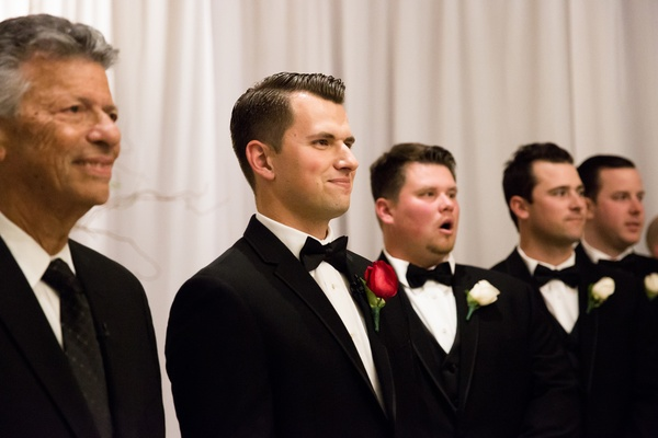 joe panik wedding, joe panik in tuxedo reacts to seeing bride brittany
