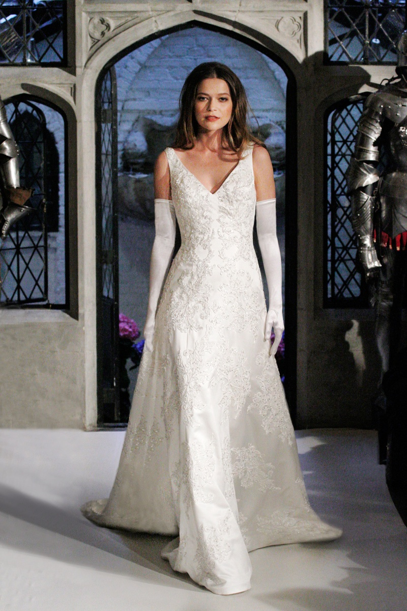Wedding Dresses Photos - V-Neck Lace Gown by Oleg Cassini - Inside ...