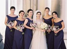 bridesmaids in dark purple bride in white roman catholic wedding ceremony religious pittsburg