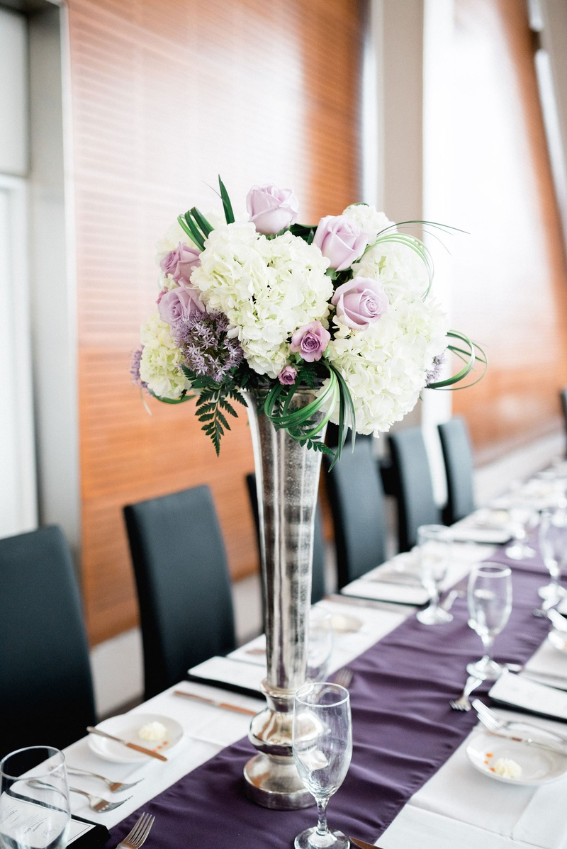 Reception Dcor Photos Tall Vase With White Purple Flowers