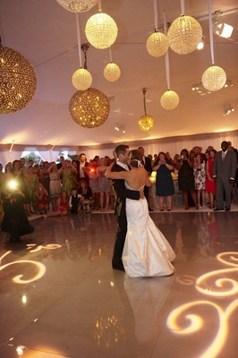 Glass and crystal globe lighting lanterns above dance floor