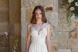 Claire Pettibone The Vineyard Romantique Collection lace v-neck sheath gown with beading
