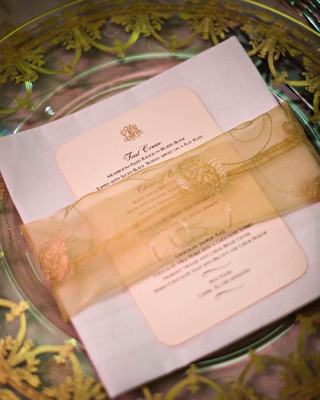 Clear charger plates with sheer fabric napkin ring