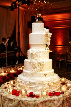 seven-tier wedding cake with different details on each layer
