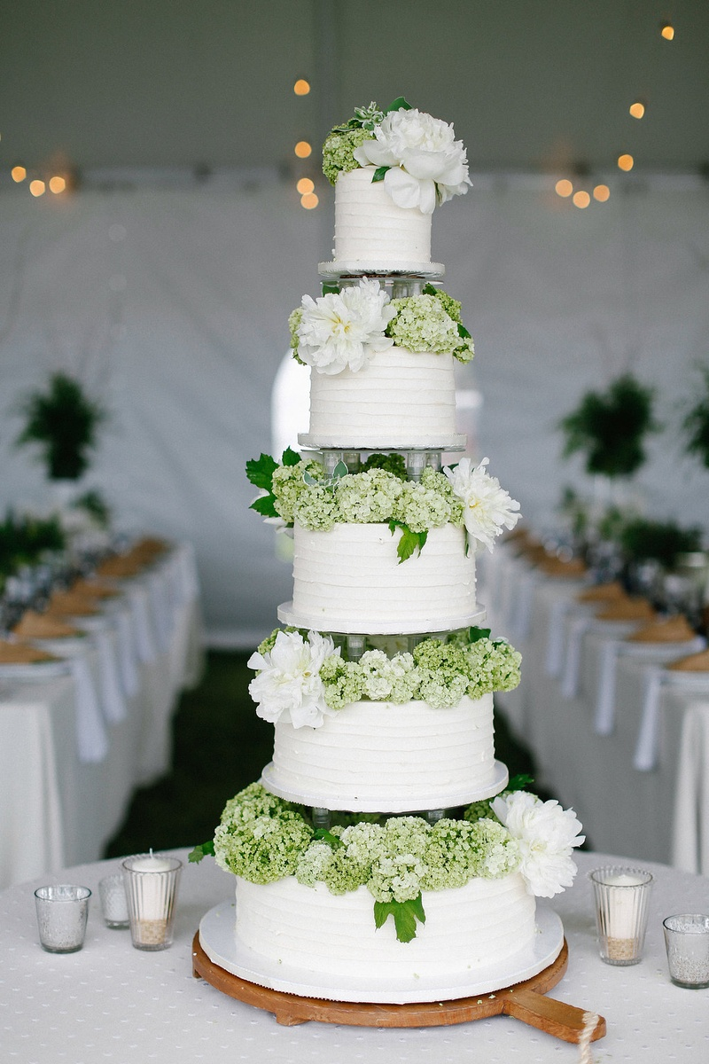 Cakes desserts photos white cake with hydrangeas and peonies five layer wedding cake with green hydrangea and white peony flowers between each tier izmirmasajfo Images