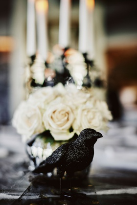 wedding reception halloween theme black crow black raven bird decor white rose flowers