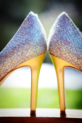 Enzo Angiolini sparkle wedding heels with gold soles
