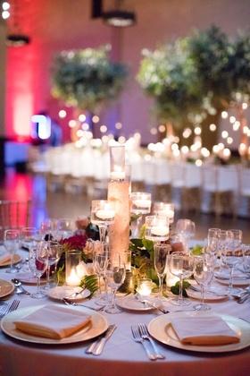 wedding reception centerpiece birch branch, candles, moss,