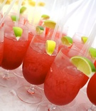Red sangria with lemon or lime garnish