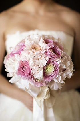 Pink ranunculus and peony blossoms