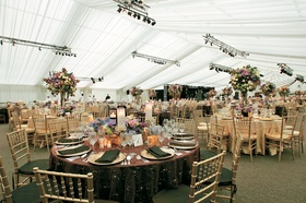 Reception tent with stage and lighting