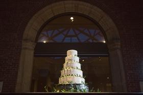 5 tier five white wedding cake dayton ohio fresh leaves greenery around desserts yummy simple