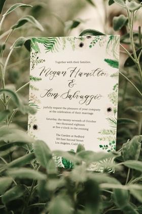 wedding invitation green white flower foliage design modern calligraphy watercolor anemone flowers