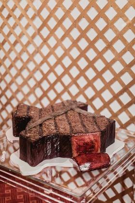 texas shape state wedding cake groom's cake that looks like meat steak