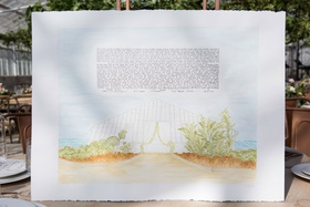 jewish wedding ketubah marriage contract illustration watercolor of venue greenhouse santa barbara