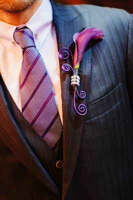 Scott Blokker purple wedding boutonniere