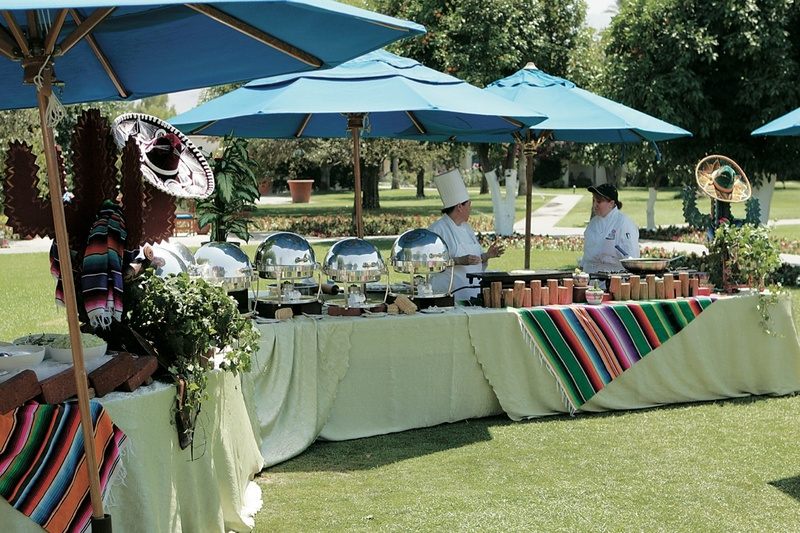 Serape blankets from Mexico and caterers
