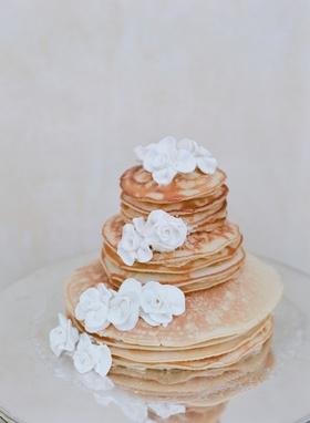 Brunch wedding three-tier pancake cake with white flowers