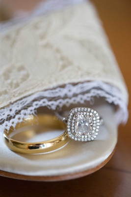 Double halo white gold engagement ring, simple yellow gold wedding band for DeMarco Murray wedding