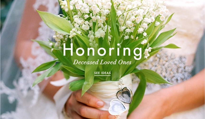 Wedding bouquet with photo of loved one that died