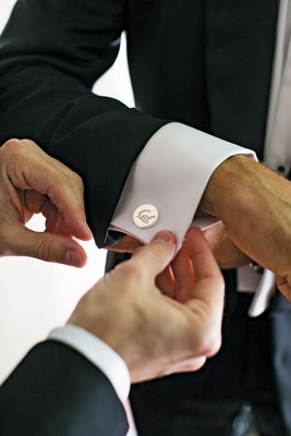 Cal UC Berkeley silver cufflinks for groom on his wedding day