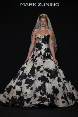 Mark Zunino for Kleinfeld 2016 strapless champagne and black a-line ball gown with flower print