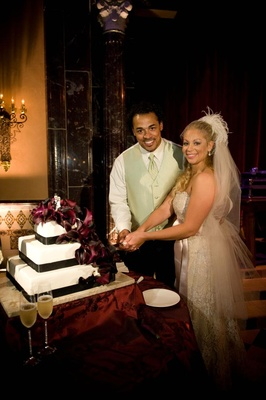 Nicholas Barnett and wife cut alternative wedding cake
