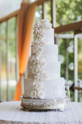 Round white wedding cake with sugar flowers