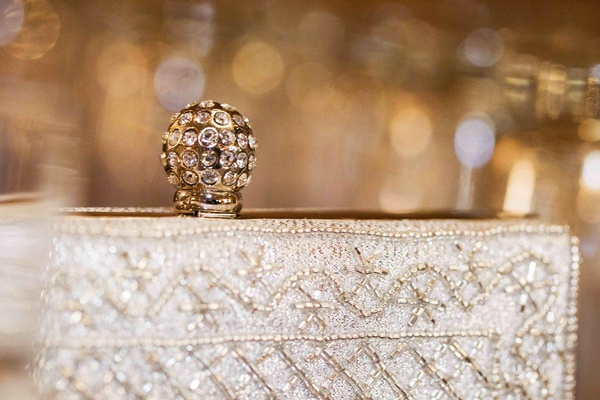 Crystal-embellished bridal clutch