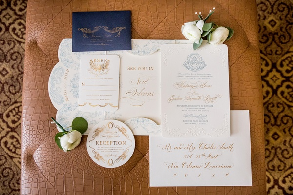 nico & lala custom invitation suite with blue and gold