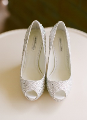 Benjamin Adams London white crystal bridal heels
