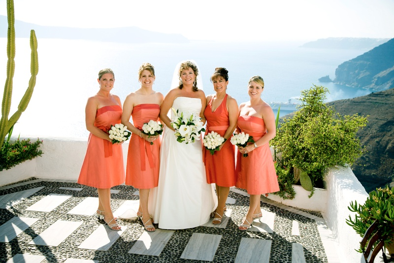 Maid of honor and bridesmaid dresses with ocean view