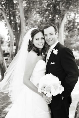 Black and white photo of newlyweds on wedding day