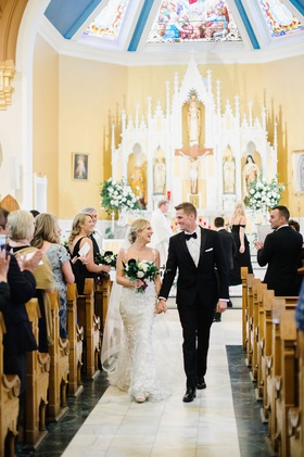wedding ceremony recessional husband and wife denver church traditional ceremony venue location