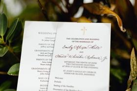 wedding ceremony program christian chapel church wedding gold letterpress cross at top
