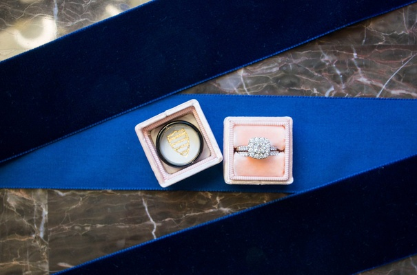 band ring in pink boxes wedding halo velvet jewelry