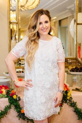 bride in short sleeve dress white flower appliques on minidress shift dress