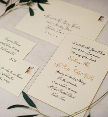 Wedding invitation gold and black calligraphy invitation suite with stamp greenery decorations