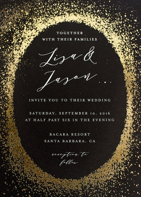 minted wedding invitation black paper with info in oval surrounded by gold