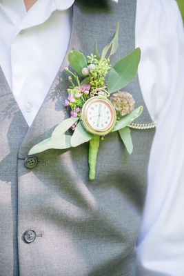 pocket watch greenery boutonniere pink flowers celtic wedding