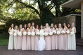 bride with large bridesmaid wedding party pink ivory dresses white bouquets