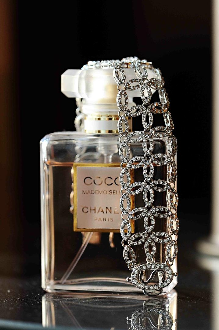 Sparkling vintage-inspired bracelet on Chanel perfume bottle