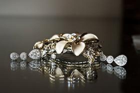 gold silver headpiece hairpiece floral design crystals diamonds wedding