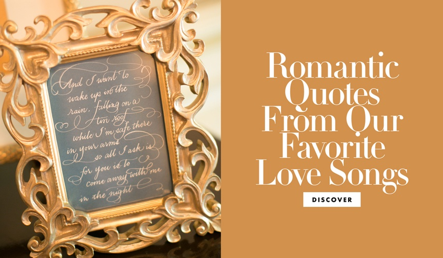 romantic lyrics from love songs for wedding decor, vows