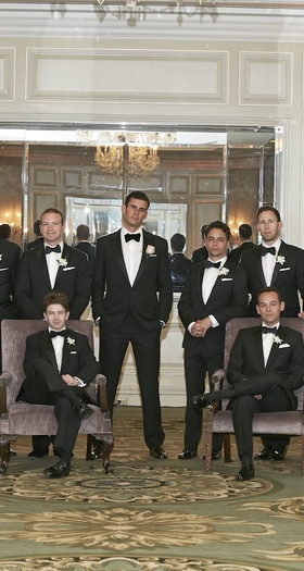 Groom in Chicago hotel ballroom with friends