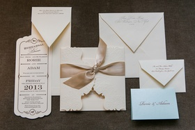 Ivory and champagne wedding invite and paper goods