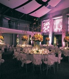 White linens and colorful centerpiece designs